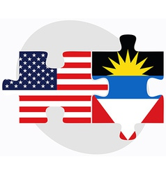 Usa and antigua and barbuda flags in puzzle vector