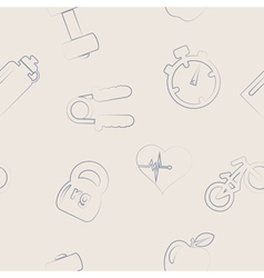 Seamless background with fitness symbols vector