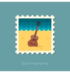 Guitar beach flat stamp vector