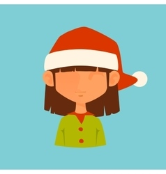 Girl elf christmas santa red hat avatar face icon vector