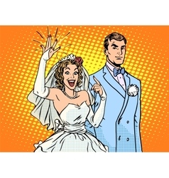 Wedding groom and happy bride vector