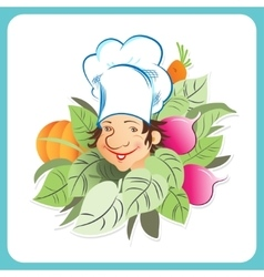 Chef with vegetables vector