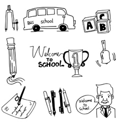 Doodle of school object bus pen teacher vector