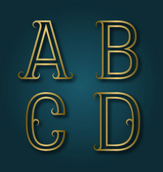 a b c d shiny golden letters with shadow vector image