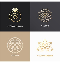 Abstract badges and emblems in trendy linear style vector
