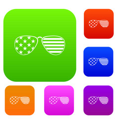 american glasses set color collection vector image