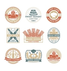 Bakery shop vintage isolated label set vector