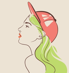 beautiful fashion woman in hat vector image