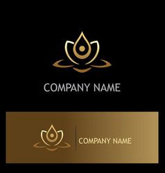 beauty gold lotus flower spa logo vector image