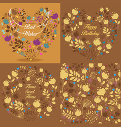 Brown floral patterns set vector