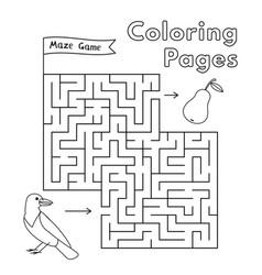 cartoon crow maze game vector image