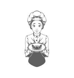 chef woman giving food logo vector image vector image