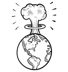 doodle earth nuke vector image vector image