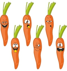 Emotion cartoon carrot vegetables set 017 vector