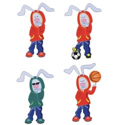 four cartoon rabbits vector image vector image