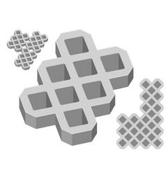 Gray concrete pavers on a white background vector