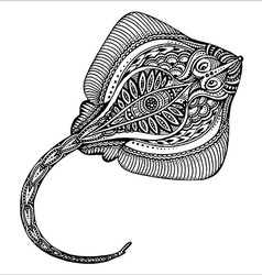Hand drawn cramp-fish in black and white doodle vector