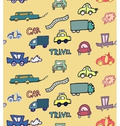 Hand-drawn doodle-style cars seamless pattern vector image