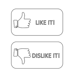 like it and dislike symbol line style button vector image