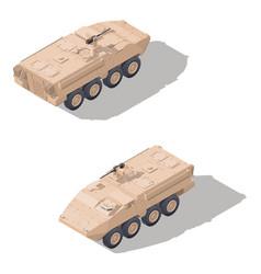 Modern infantry combat vehicle isometric icon set vector