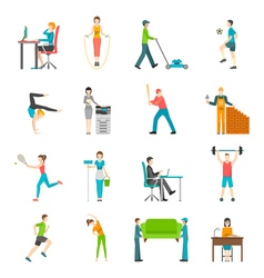 Physical activity flat icons vector
