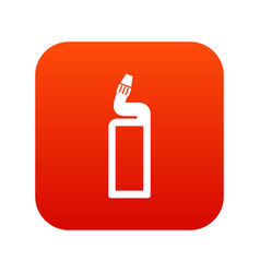 Plastic bottle of drain cleaner icon digital red vector