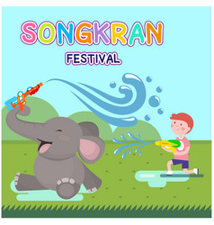 songkran festival kid playing water with elephant vector image
