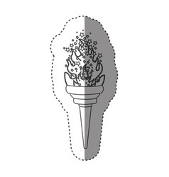 sticker grayscale contour with olympic torch flame vector image vector image