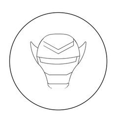 Superhero s helmet icon in outline style isolated vector