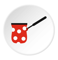 Turk red with white polka dots icon flat style vector