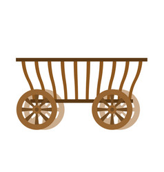 wagon wood old farm transport ancient cargo vector image