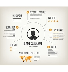 Web cv or resume template with world map vector
