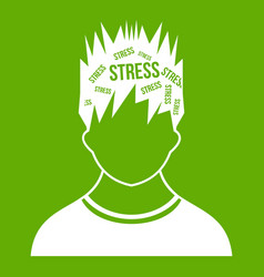 word stress in the head of man icon green vector image vector image