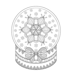 Zentangle chriatmas snow globe with snow flake vector