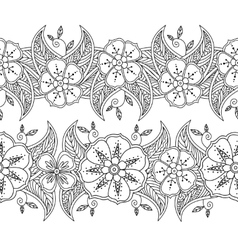 Set of two seamless pattern floral borders vector