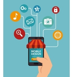 Mobile design marketing shopping online vector