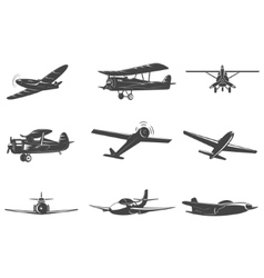 Set of the planes icons isolated on white vector image