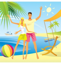 Romantic couple enjoy vacation on the beach vector