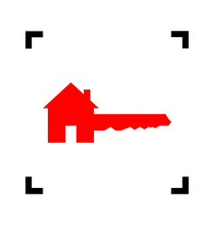 Home key sign red icon inside black focus vector