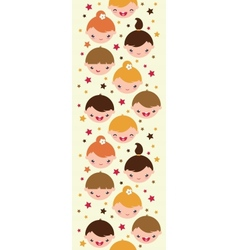 Smiling children vertical seamless pattern vector