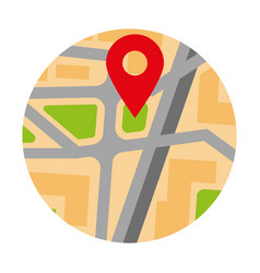 Colorful circle map with red pin location marker vector