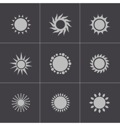 Black sun icons set vector