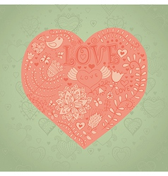 Floral heart heart made of flowersdoodle heart vector