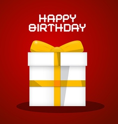 Happy birthday white paper gift box on red b vector