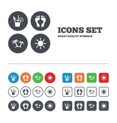 Beach holidays icons cocktail human footprints vector