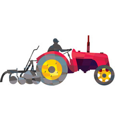 Farmer driving vintage farm tractor low polygon vector