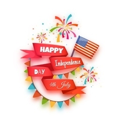 Happy independence day banner red ribbon with vector