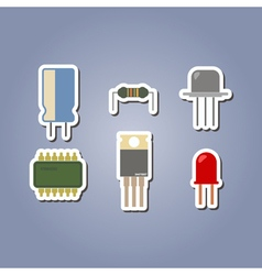 Color icon set with electronic components vector