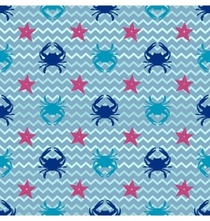 Seamless pattern with crab vector