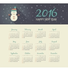 Calendar 2016 year with christmas snowman vector